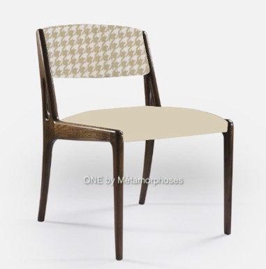 chaise scandinave personnalisable tissu pieds de poule Designers Guild et uni taupe