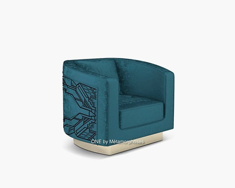 Fauteuil lounge moderne personnalisé avec un motif cadre art déco