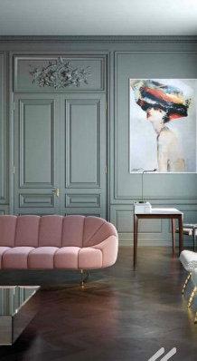 Canapé contemporain de salon avec tissus au choix