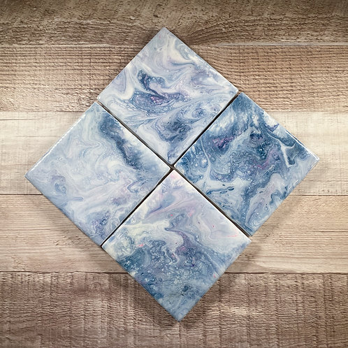 Soft Blue with a touch of Pink - Table Coaster Set