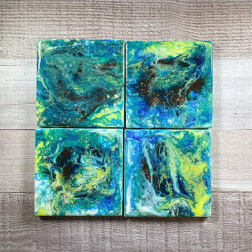 Brown, Green, and Blue Swirls - Table Coaster Set
