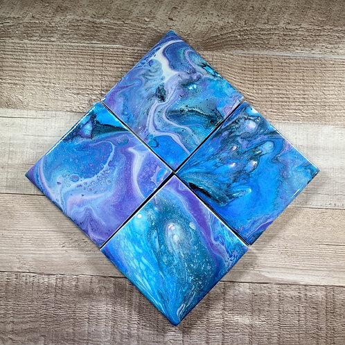 Blue & Purple Swirl - Table Coaster Set