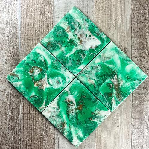Emerald with Rich Espresso I Table Coaster Set