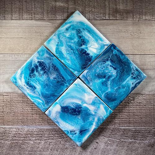 Ocean Swirls II Table Coaster Set