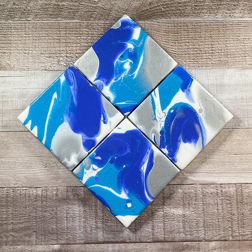Blue Hues & Silver II Coaster Set