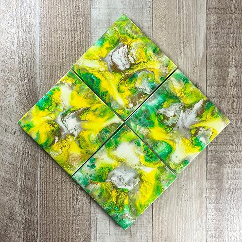 Yellow, Rich Espresso, and Emerald Swirl Table Coaster Set