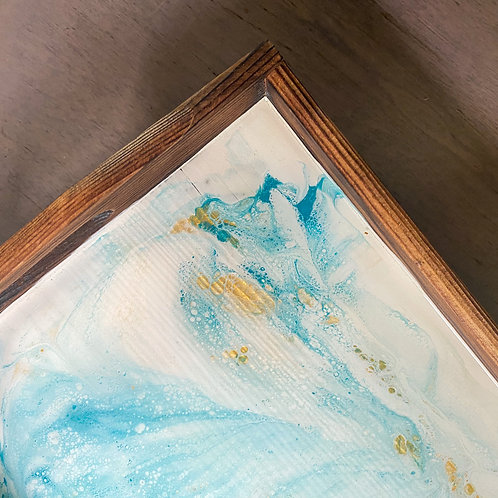 Light Blue with Gold Small Serving Tray