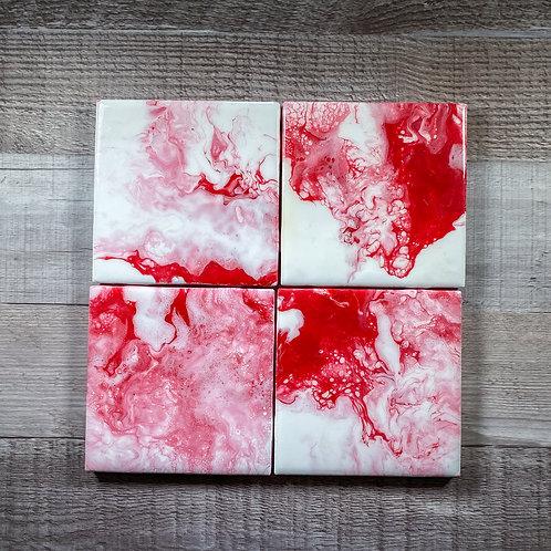 Red Swirls Table Coaster Set