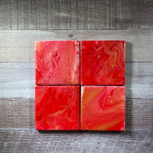 Red with a touch of Gold Table Coaster Set