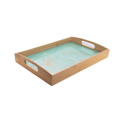 Serving Tray in Ocean Green with Gold Swirl