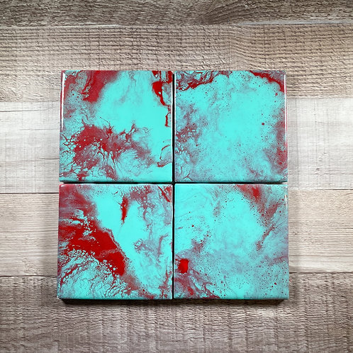 Ruby Red & Teal - Table Coaster Set