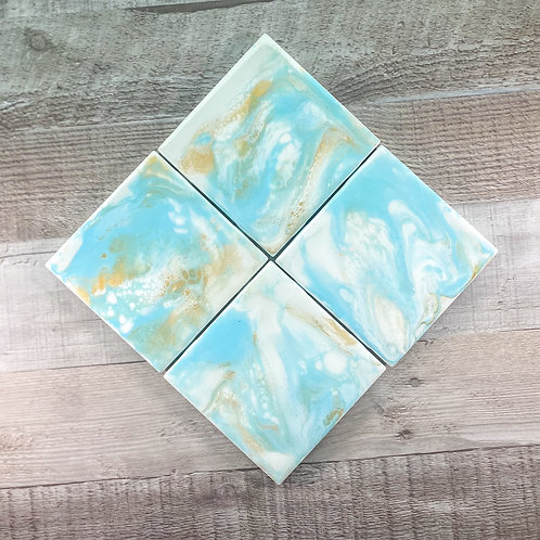 Light Blue with Gold Table Coaster Set