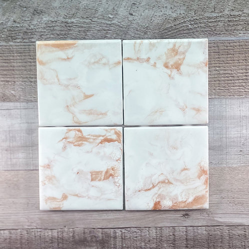 Rose Gold with White II Table Coaster Set