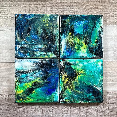 Green, Black, and Blue Swirls - Table Coaster Set