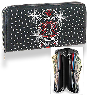 Red and White Skull Day of the Dead Accordion Wallet