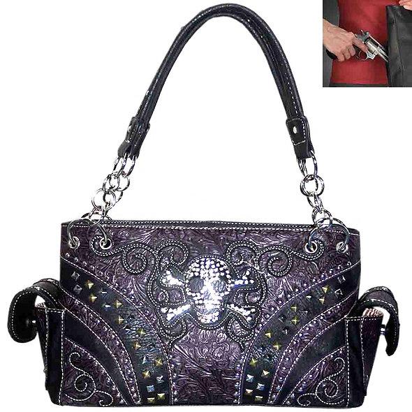 Sugar Skull Western Shoulder Bag in Purple