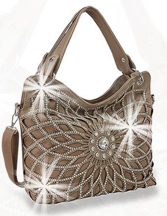 Rhinestone Flower Layered Bag