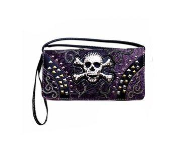 Skull and Diamonds Handbags in Purple
