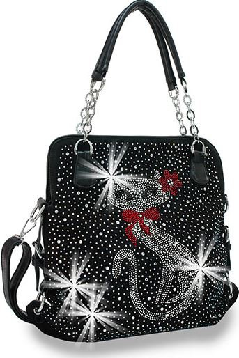 Cat Design Rhinestone Handbag