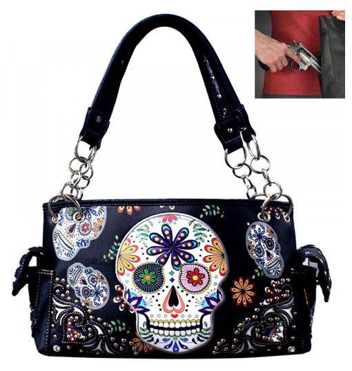 Sugar Skull Concealed Carry Handbag in Black