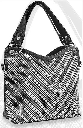 Chevron Rhinestone Patterned Fashion Handbag