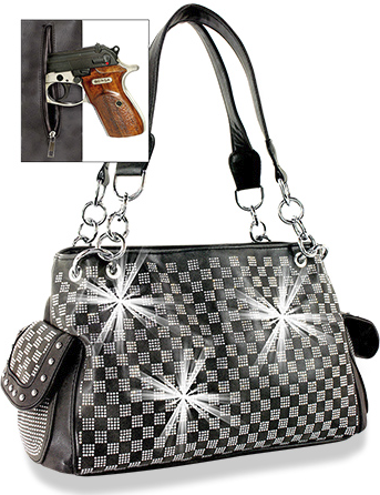 4e54e39e3f04 A rhinestone checkered pattern on top of the ultra suede front panel. Your  concealable handgun is secured in a special zippered pocket on the back.