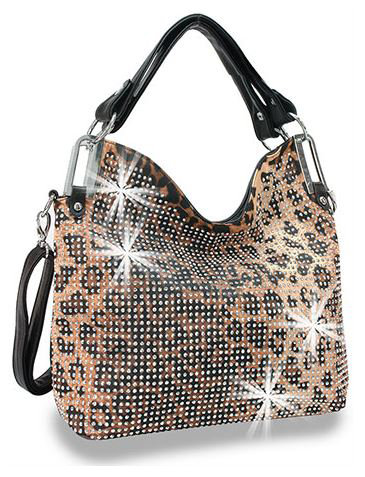 Leopard Design Rhinestone Handbag