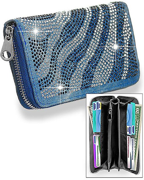 Rhinestone Design Accordion Wallet