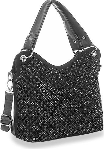 Rhinestone Design Layered Handbag