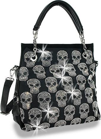 Skull Design Rhinestone Handbag