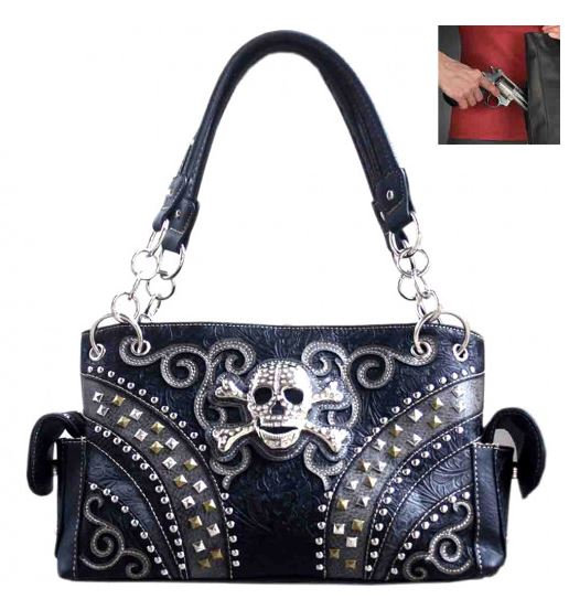 Sugar Skull Western Shoulder Bag in Black