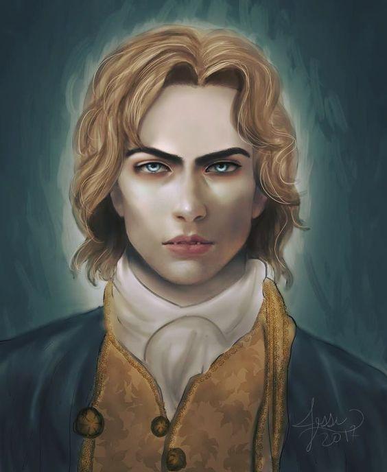 A ilustração representa o vampiro Lestat, com longos cabelos loiros, olhos azuis e dentes proeminentes. Lestat veste roupas nos moldes do século XVII, com um casaco azul, colete amarelo e lenço branco em volta do pescoço.