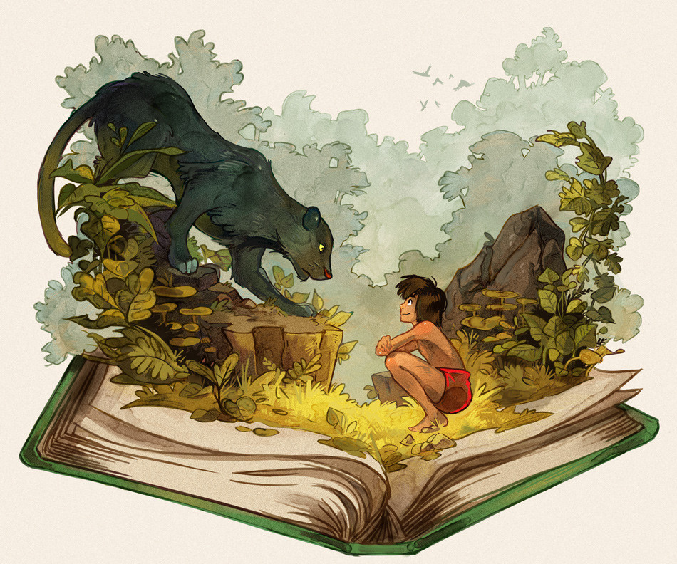 A imagem mostra uma ilustração contendo um livro aberto, de onde saem elementos da selva, como grama, rochas e plantas. Mowgli está sentado encarando uma pantera negra, que, por sua vez, está em cima de um toco de árvore. Ao fundo, observa-se árvores e pássaros voando.