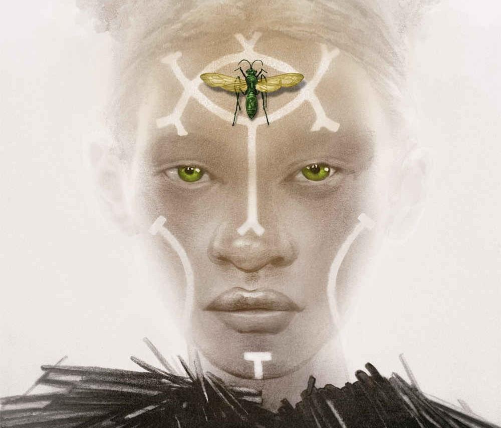 A ilustração mostra uma jovem menina albina com símbolos desenhados no rosto e um inseto na testa, representando a protagonista Sunny.