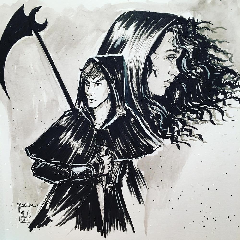A imagem em preto e branco  mostra, em primeiro plano, um rapaz segurando uma adaga, representando o personagem Rowan; ao fundo, uma moça de cabelos crespos e capuz, representando a ceifadora Anastasia. Há também uma foice na imagem.