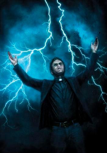 A imagem representa o reverendo Jacobs cercado por raios no que parece ser uma tempestade elétrica.
