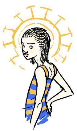 A imagem representa a protagonista Sunny sobreposta a um sol.