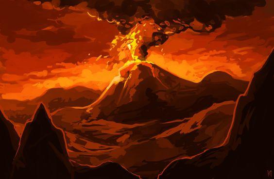 Ilustração de vulcão representando o vulcão existente em Monte Ruína, ilha fictícia onde se passa parte da história.