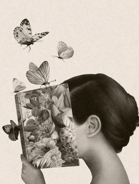 A imagem mostra uma mulher de cabelos lisos, amarrados em um coque atrás da cabeça, segurando no livro aberto, de forma a esconder o próprio rosto. Acima do livros há quatro borboletas de diferentes tamanhos, e mais uma borboleta na lombada. A ilustração da capa do livro mostra várias folhagens e flores, que formam uma imagem que remete ao rosto da mulher. A imagem está em tons de sépia.