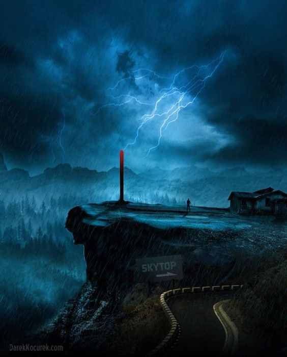 A arte mostra uma tempestade elétrica no topo do moro Skytop. Jamie está observando os raios caírem no pára-raios.