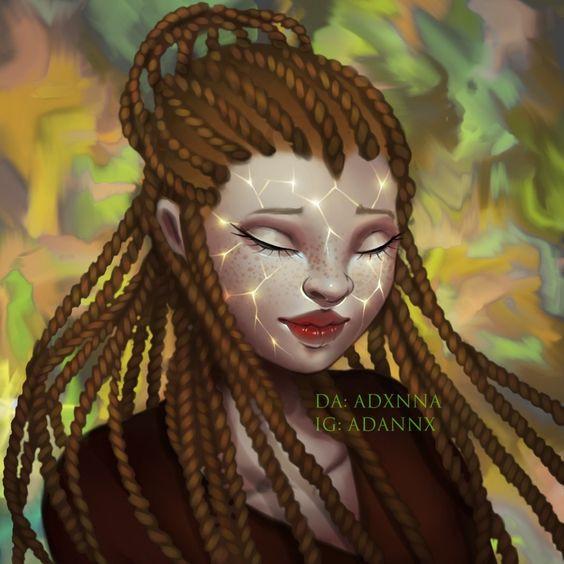 A imagem representa a protagonista Sunny, uma jovem negra de pele albina e dreads loiros. O rosto de Sunny está iluminado.