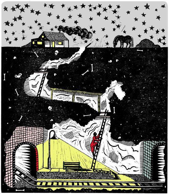 A ilustração mostra uma ferrovia subterrânea e uma pessoa subindo os degraus de uma escada para chegar à superfície. Em cima, vê-se uma casa, um cavalo e um céu estrelado.