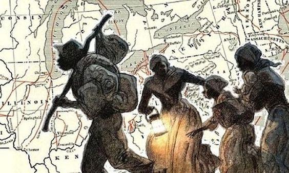A imagem mostra quatro pessoas negras fugindo. Ao fundo está estampado uma parte do mapa dos Estados Unidos.