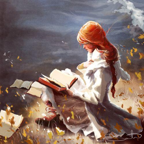 A imagem mostra uma mulher de cabelos vermelhos sentada com um livro nas mãos e alguns outros livros no seu entorno.