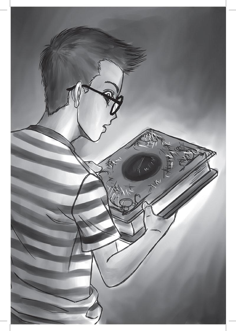 Ilustração representando Ed com o livro vermelho.
