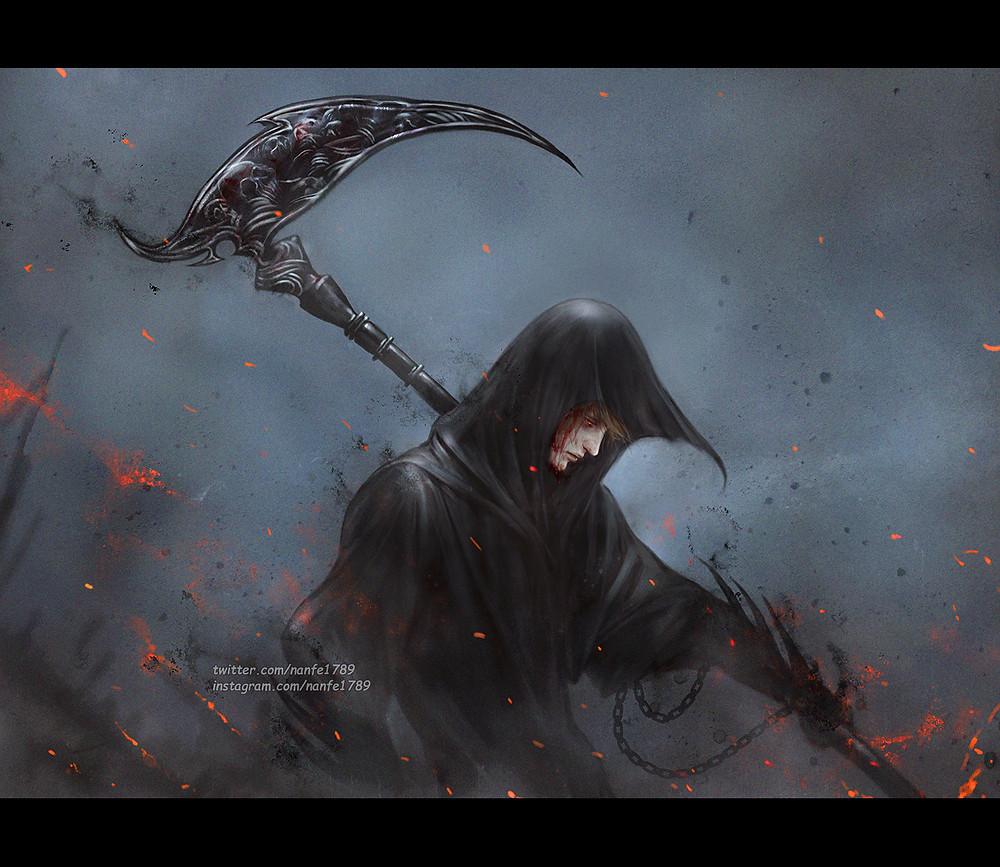 A imagem mostra um rapaz com sangue escorrendo do rosto, coberto por um manto negro e segurando uma foice. Ele representa o personagem Rowan.