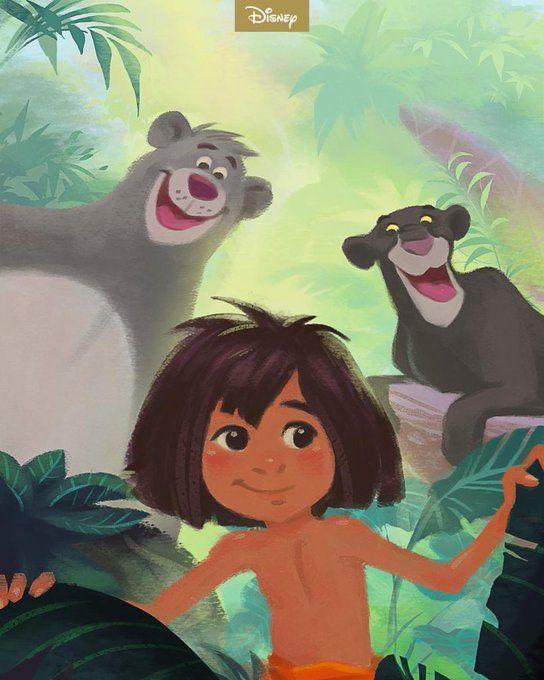 A imagem mostra um menino moreno, de cabelos castanhos bagunçados, entre as folhas. Ao fundo, observa-se a selva. À direita do menino, encontra-se um grande urso cinza; à esquerda, uma pantera negra.