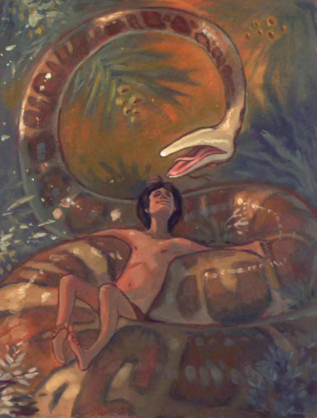 A imagem mostra uma ilustração de uma enorme serpente píton na selva. Descansando entre as curvas da cobra está um jovem menino. A serpente o encara de cima, de ponta cabeça, com uma expressão divertida.
