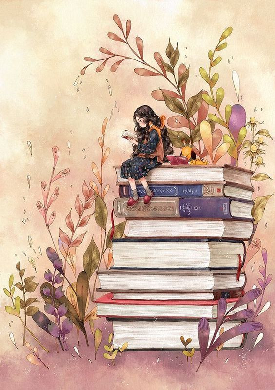 A imagem mostra uma menina de vestido azul de bolinhas brancas segurando um livro aberto. Ela tem a pele clara, cabelos longos pretos e calça um chinelo vermelho com meias cinza. Há um esquilo em seu ombro e, ao seu lado, um cachorro amarelo com orelhas pretas também segura um livro aberto. Eles estão no topo de uma pilha de livros. Ao redor deles, observa-se várias plantas.