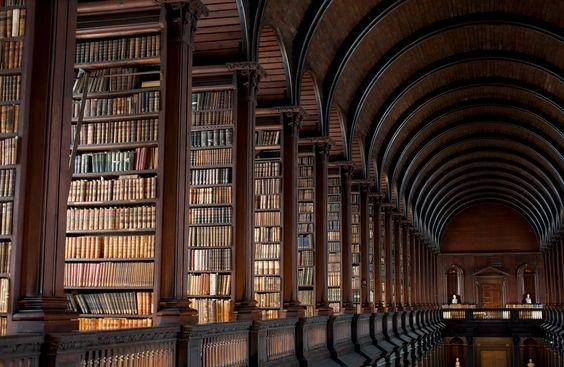 A imagem mostra várias estantes com muitos livros, formando uma enorme biblioteca.
